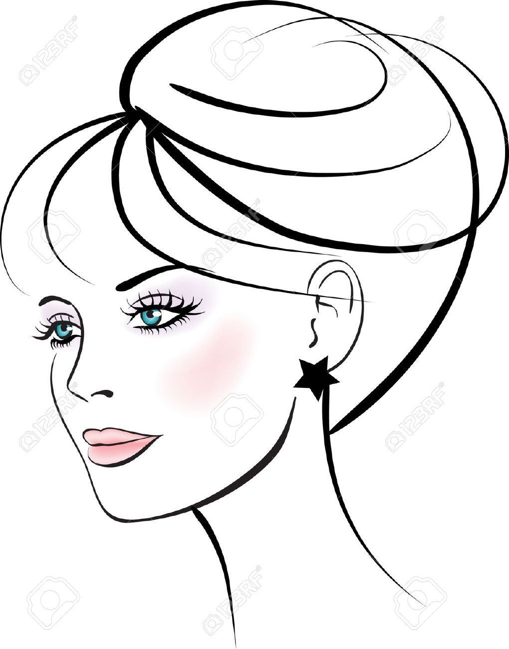 Line Drawing Of Happy Face : Woman face vector google search women vectors