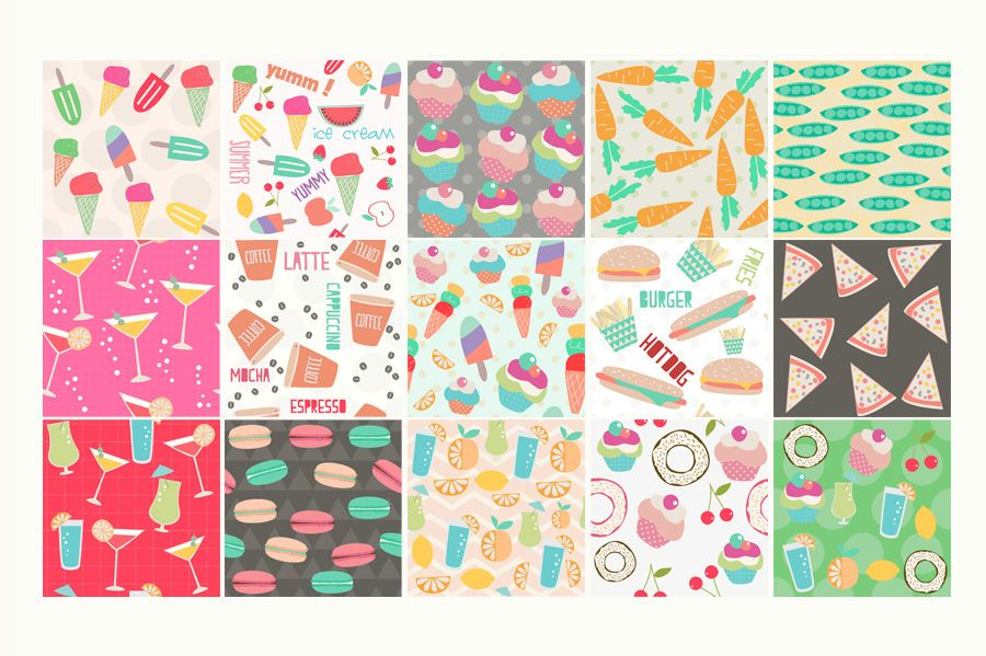 Food and Drink Seamless Patterns by 7th Avenue Designs on @creativemarket