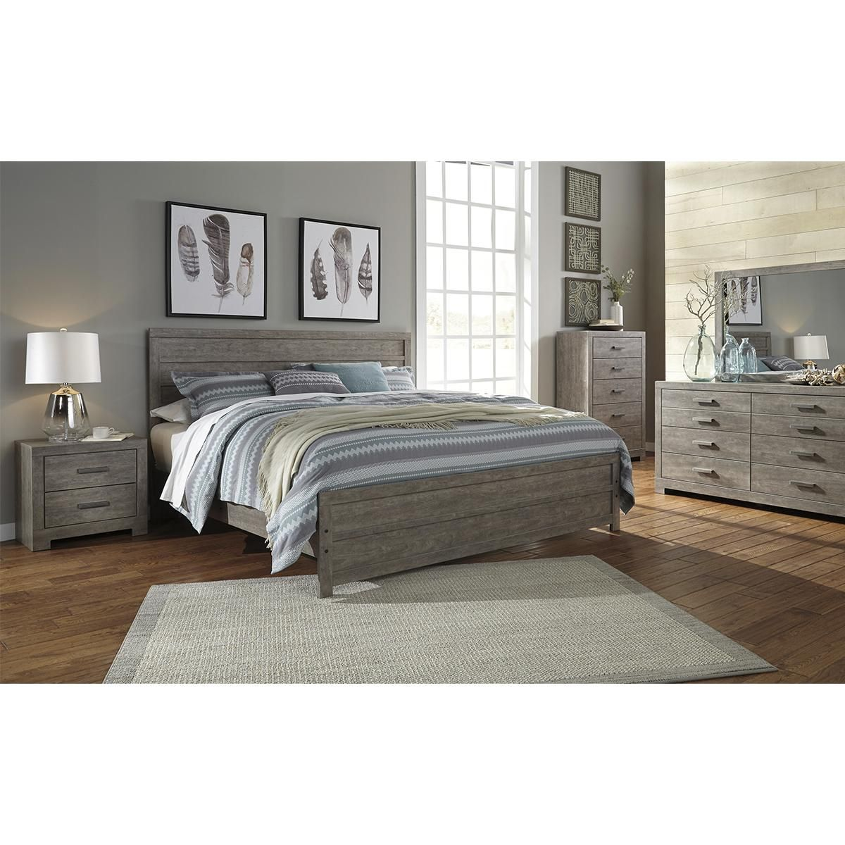 Best Signature Design By Ashley Culverbach 4 Piece Queen Bedroom Set In Driftwood Grey King Bedroom 400 x 300