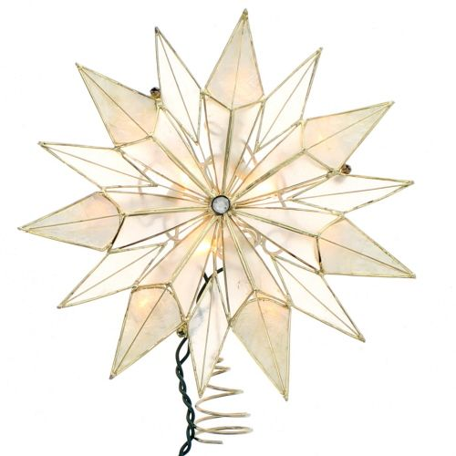 Pre Lit Christmas Tree Fuses: Smoke Capiz Star Tree Topper ~ UPC: 086131278242