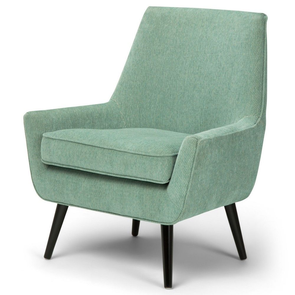 Best Carson Mid Century Accent Chair Light Aqua Patterned 400 x 300