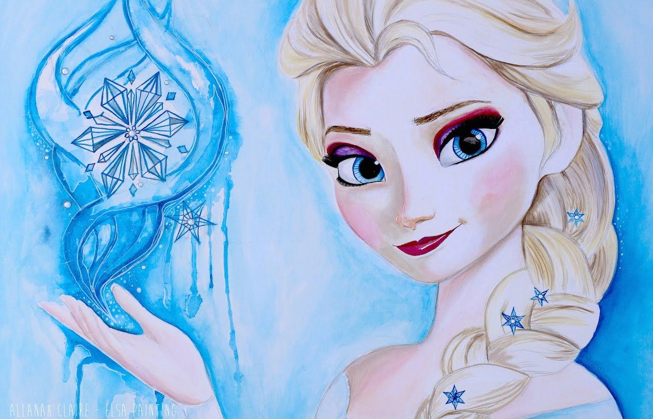 Elsa Disney Frozen Art Drawing Video Frozen Fever Speed Painting Time Lapse Disney Fine Art Disney Frozen Art Frozen Painting