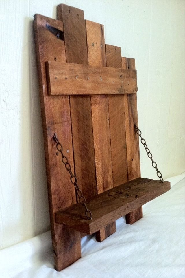 Rustic chain shelf handmade reclaimed pallet wood home for Wood craft shelves