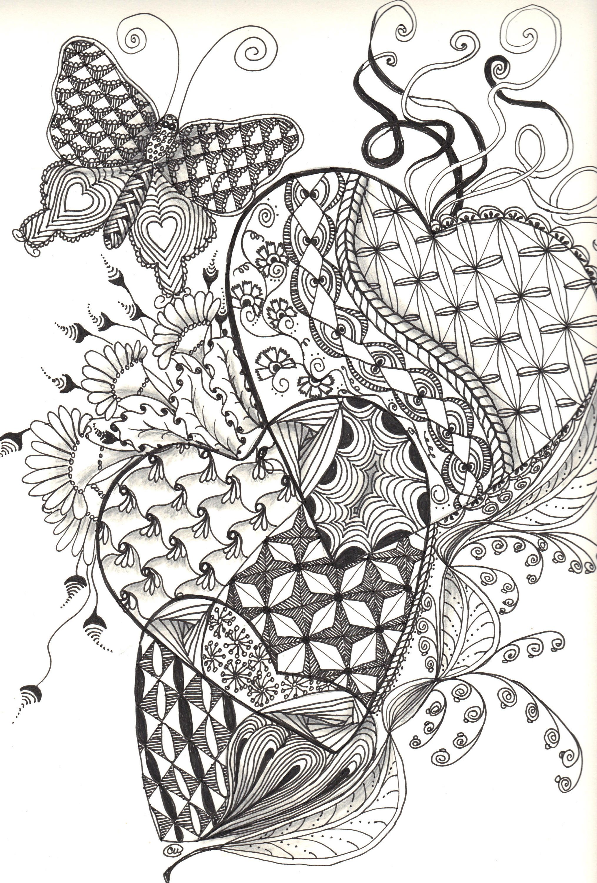 Triple Hearts And Butterfly Zentangle Art Print Love