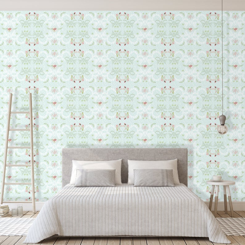 French Style Wallpaper Mint Green Removable Wallpaper Etsy Wall Decor Bedroom Bedroom Wall Removable Wallpaper