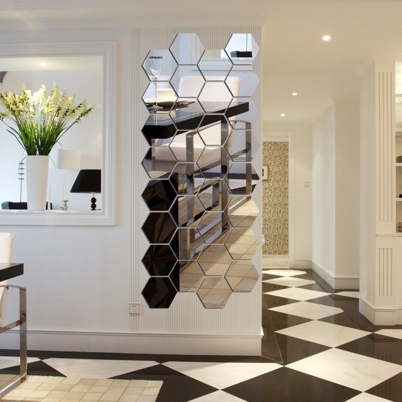 7 stuk Hexagon Acryl Spiegel Muursticker DIY Art Wall Decor ...