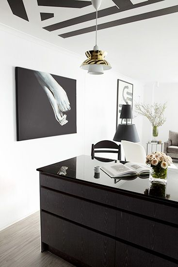 Before and After: A '70s Apartment Gets a Bold Black and White Makeover via @MyDomaine