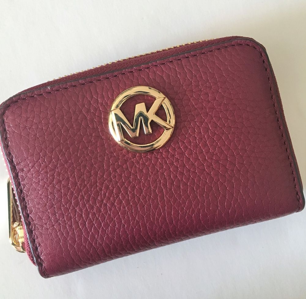 cceac9ecb9c0c4 Michael Kors Coin Case Zip Around Mini Wallet Mulberry Leather NWT Fulton  Purse #MichaelKors #