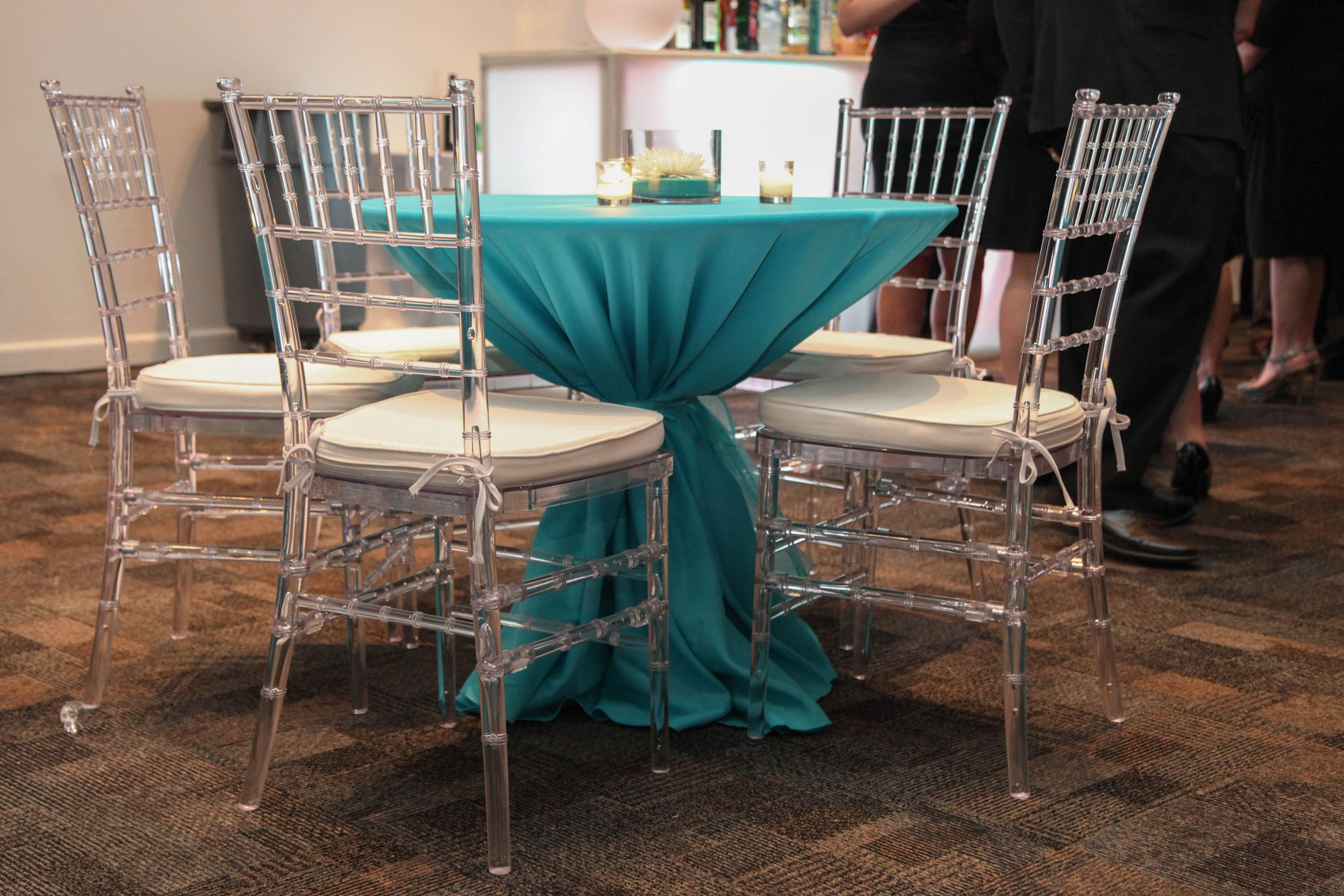 Simple cocktail table with Acrylic Chiavari Chairs