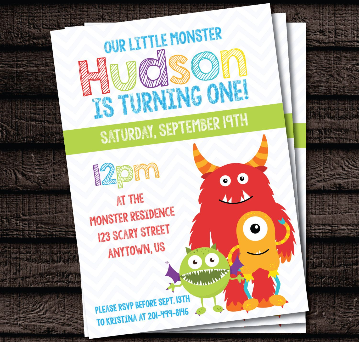 Monster Party Chevron Birthday Invitation Printable File 5x7