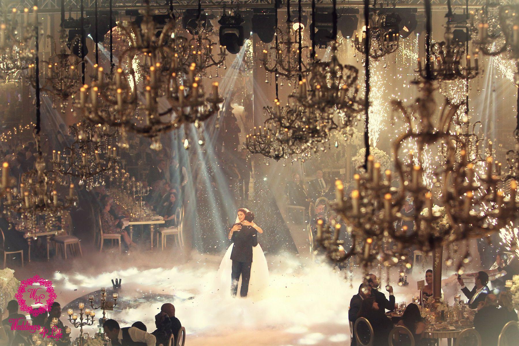 Weddings Fairy Tales First Dance Breathtaking Chandeliers Fire Sparkles White Fog Love