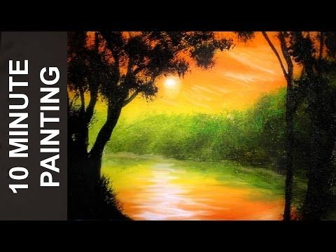 Painting Trees On The Lake And Distant Mountains With Acrylics In 10 Minutes Youtube Landscape Painting Tutorial Painting Tutorial Beginner Painting