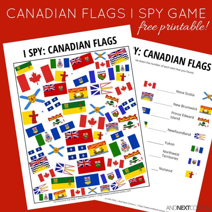Canadian Flags I Spy Game Free Printable For Kids Printables