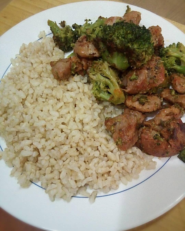 Hoy para comer arroz integral, pavo y brocoli.