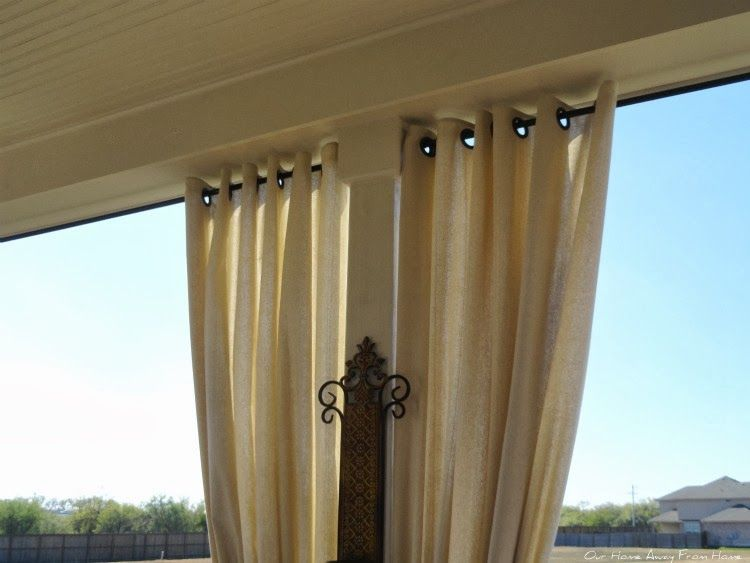 our home away from home no sew outdoor drop cloth curtains with grommets outdoor curtains. Black Bedroom Furniture Sets. Home Design Ideas