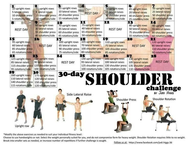 30 day shoulder challenge by jodi higgs challenges tribesports workouts pinterest. Black Bedroom Furniture Sets. Home Design Ideas