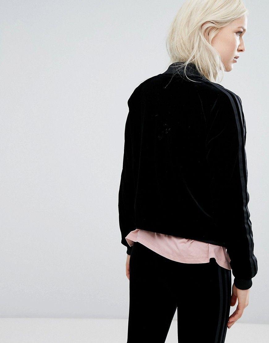 adidas Originals Velvet Vibes Bomber Jacket In Black Black