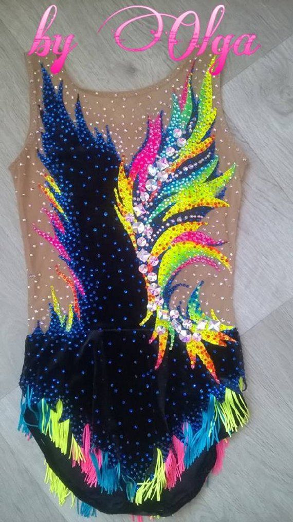 Made To Measure RHYTHMIC GYMNASTICS Leotard Kids Dancewear Velvet Black  Bright application Hand pain c0801d012a5