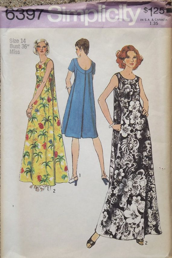 Vintage 1974 Simplicity Sewing Pattern for Muu-Muu in Two Lengths ...