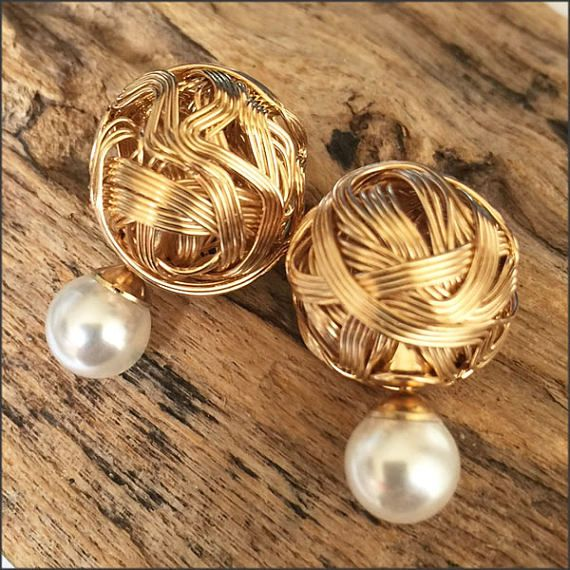 Cly French Style Gold And White Tribal Earrings