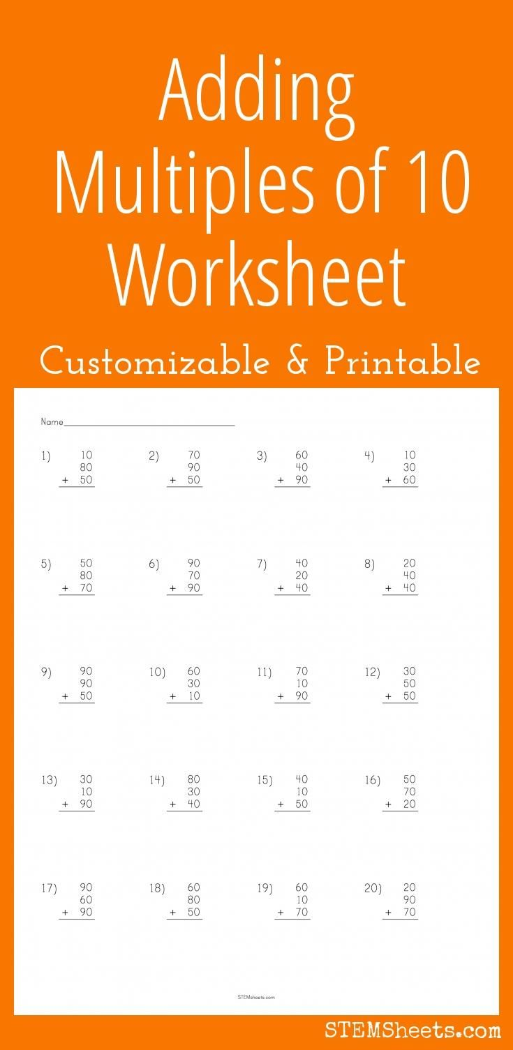 Adding Multiples Of 10 Worksheet Customizable And