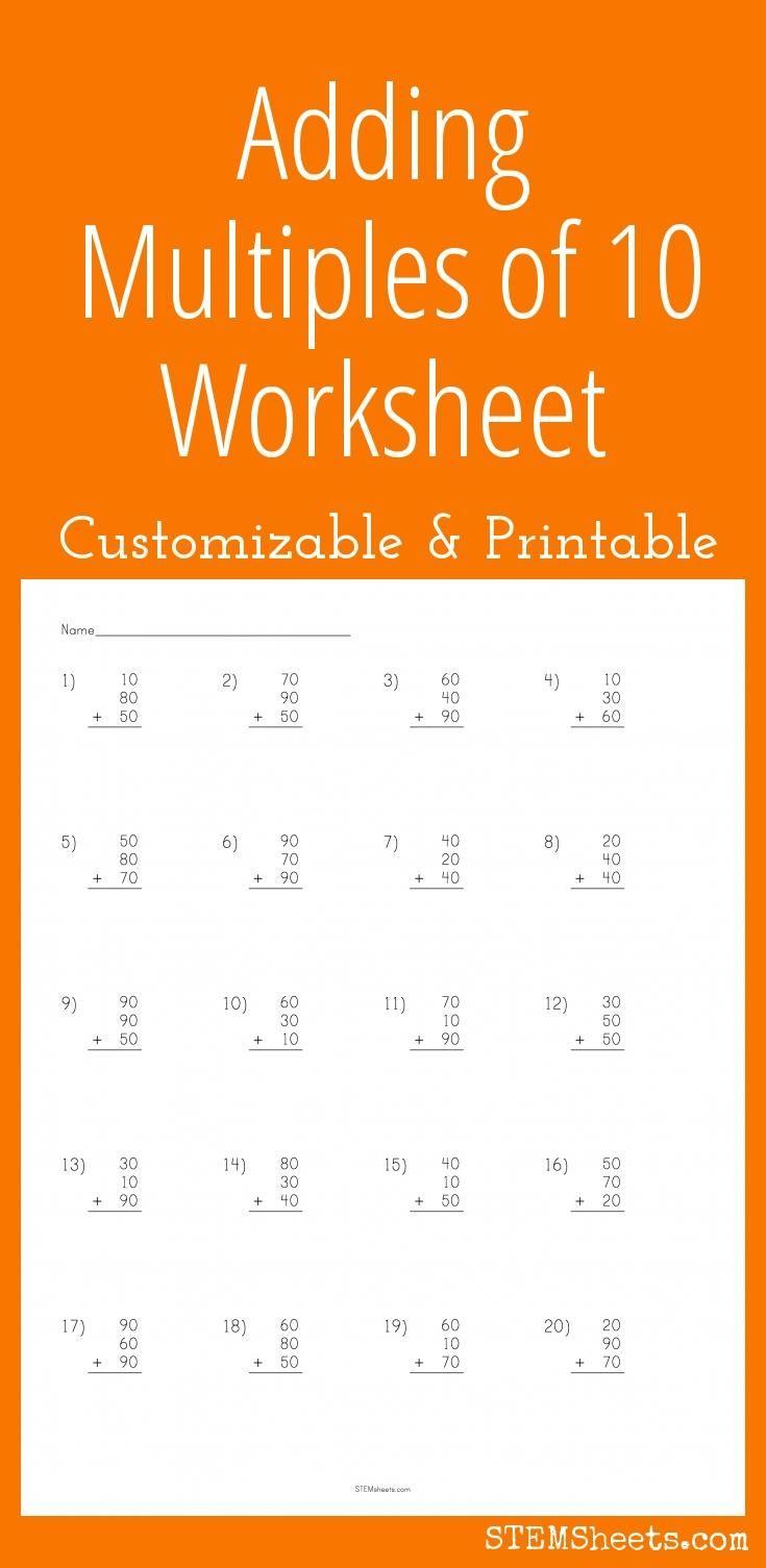 Adding Multiples Of Ten Worksheet Free Printable Math Worksheets Basic Math Worksheets Basic Algebra Worksheets Addition multiples of worksheet