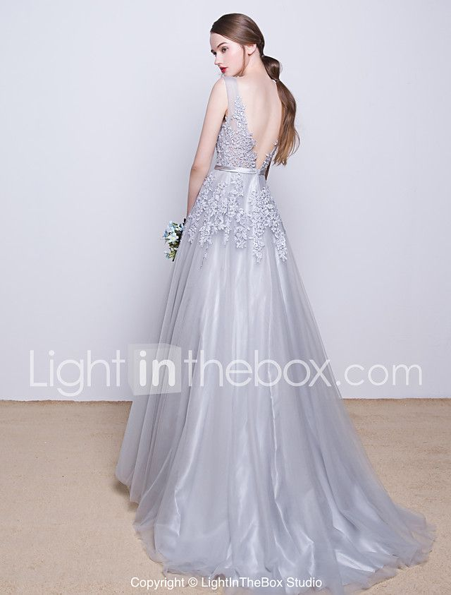 2d6cea6e207b9 A-Line V Neck Sweep / Brush Train Tulle Over Lace Open Back Prom ...