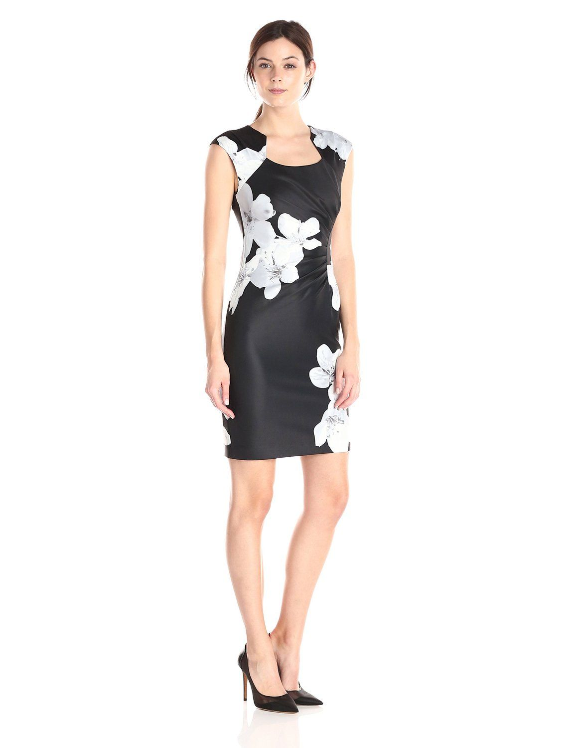 3b66c2250bc5 Amazon.com  Calvin Klein Women s Floral Print Side Ruched Dress  Clothing