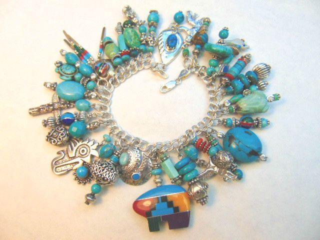 Southwest Turquoise Bear Charm Bracelet Eagle Sterling Silver
