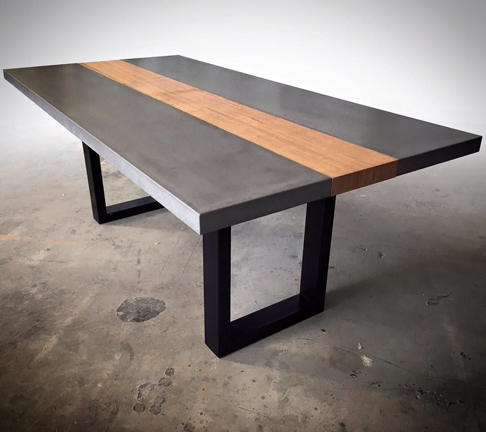 Polished Concrete Table Top With Steel Base Mitchell