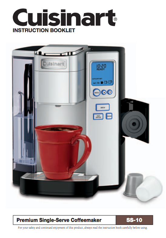 Premium SingleServe Coffeemaker (SS10) Product Manual