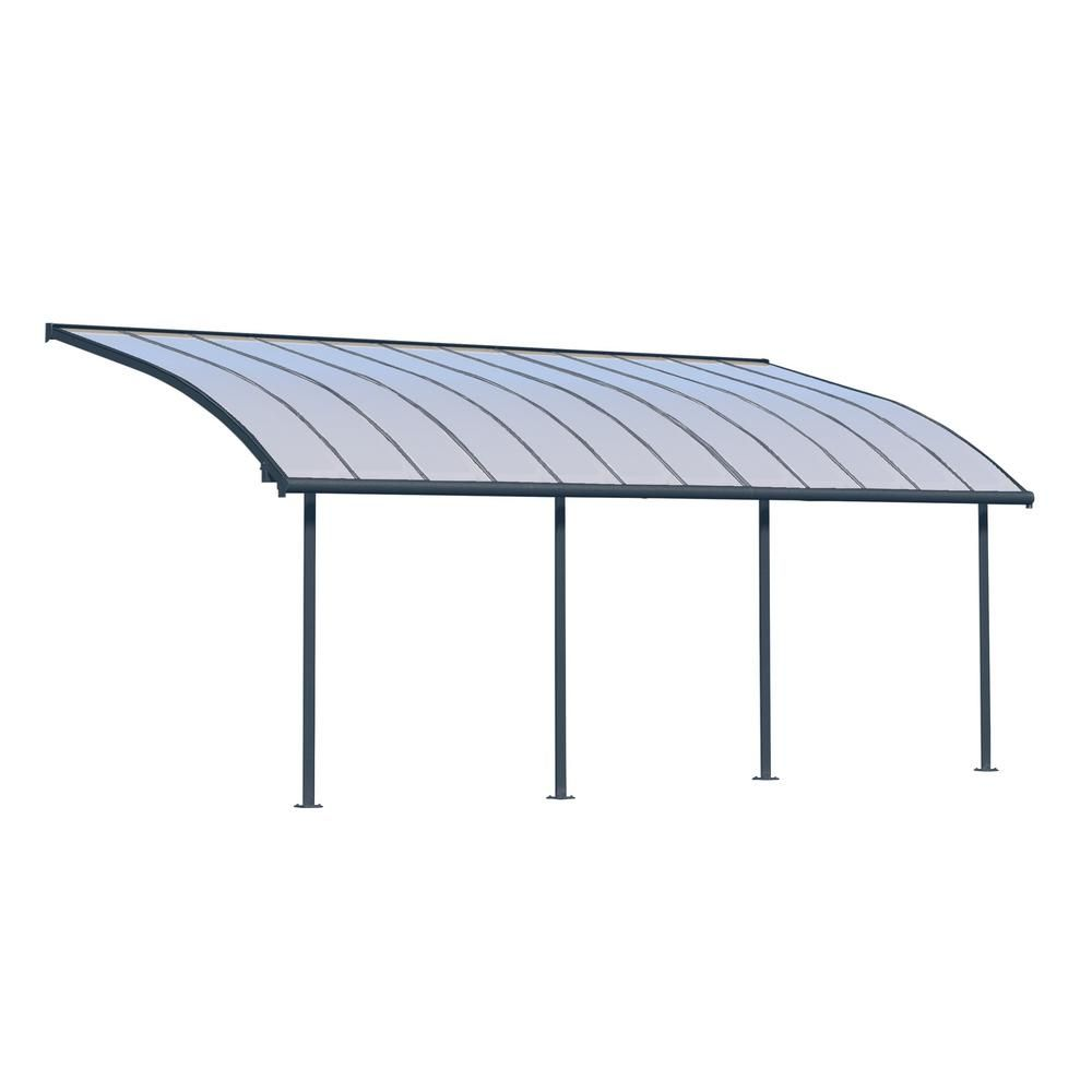 Palram Joya 10 Ft X 24 Ft Grey Patio Cover Awning 704456 The Home Depot In 2020 Grey Patio Covered Patio Patio