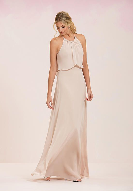16903fb8379 Simple chiffon bridesmaid dress with draping on the bust with jewel  neckline