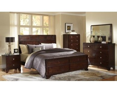 Stylish 6 Piece Queen Panel Bedroom Set   Sam Levitz Furniture