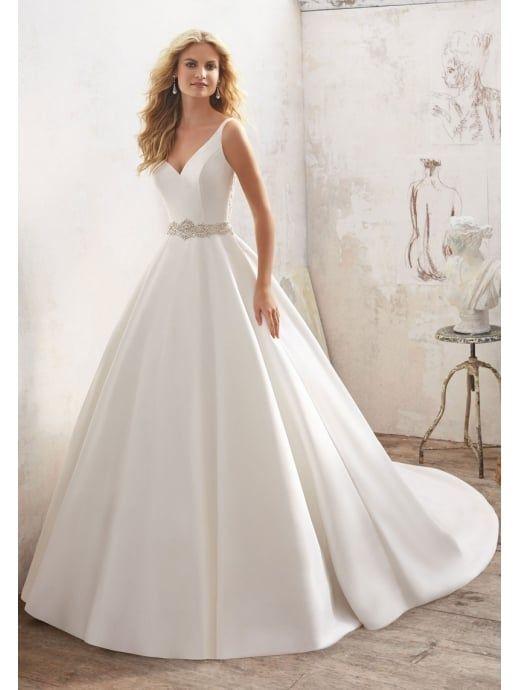 MORI LEE Mori Lee 8123 MARIBELLA Satin Ball Gown With Detailed Back ... 9377a99598e2