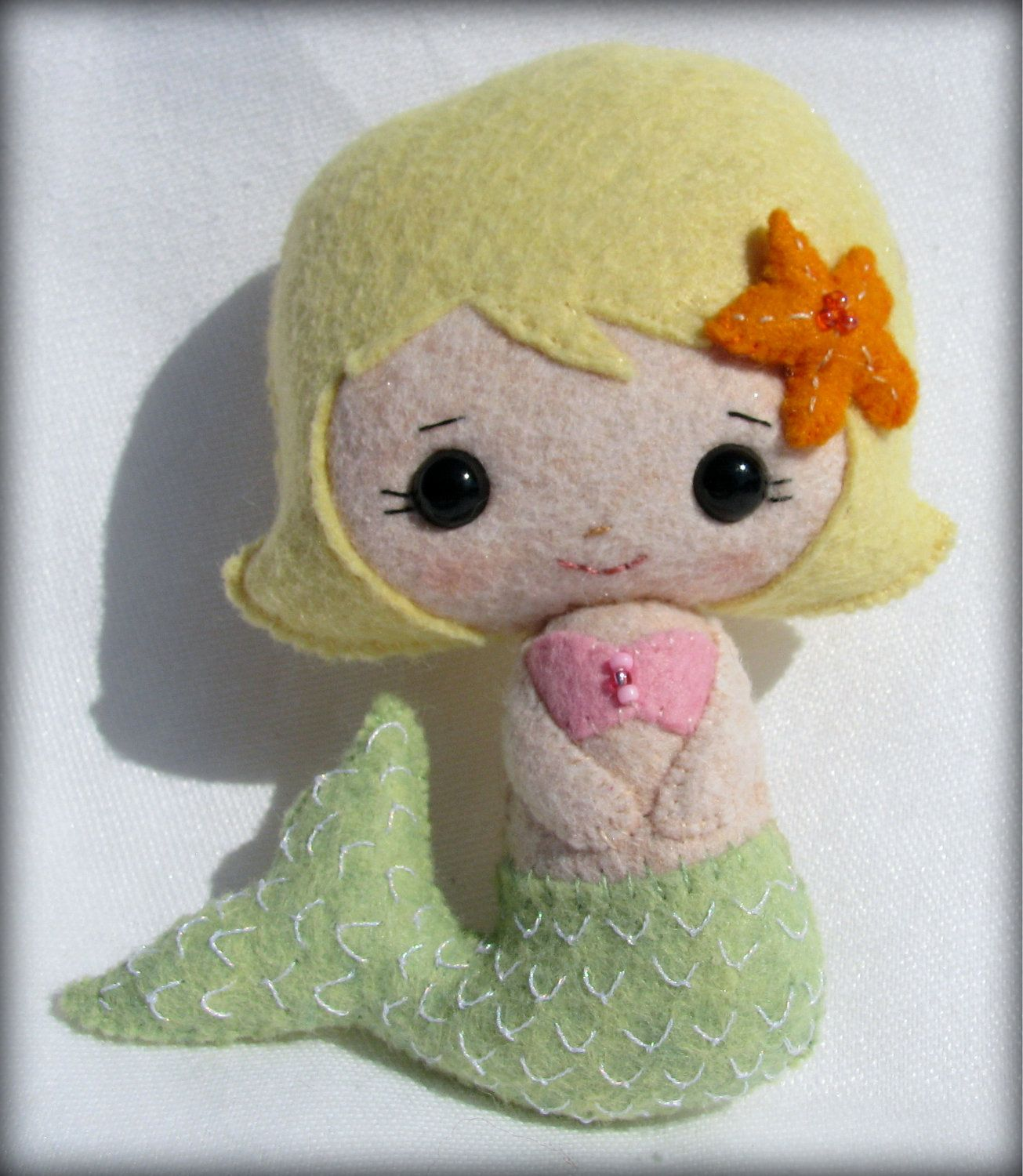 Pretty little Mermaid doll - hand stitched with wool blend felt - collectable doll