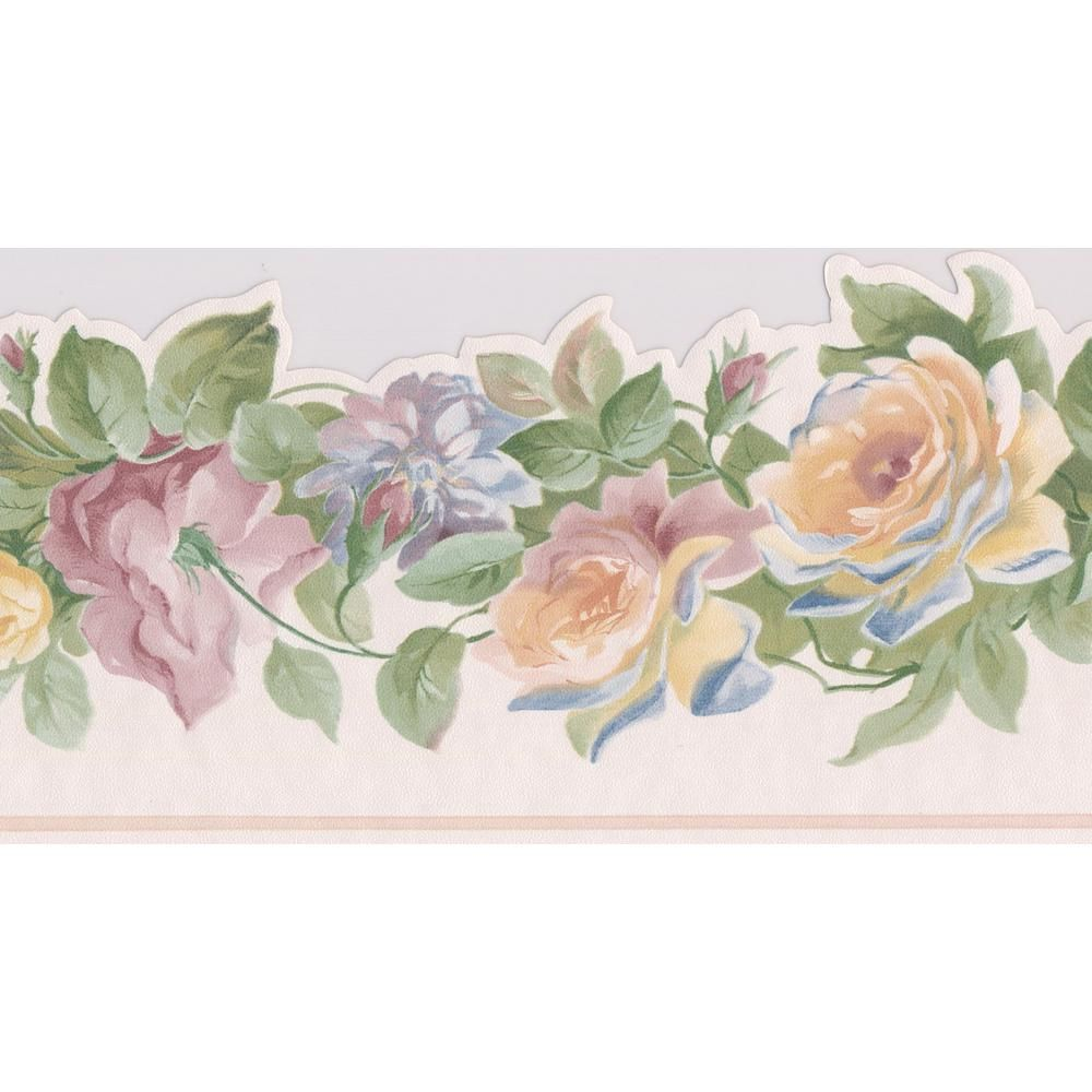 Norwall Yellow Pink Purple Roses on Vine Floral Prepasted