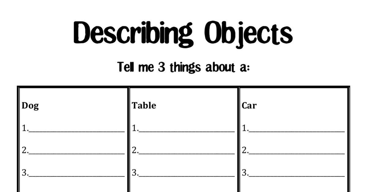 describing objects 3 writing ideas speech therapy worksheets speech. Black Bedroom Furniture Sets. Home Design Ideas
