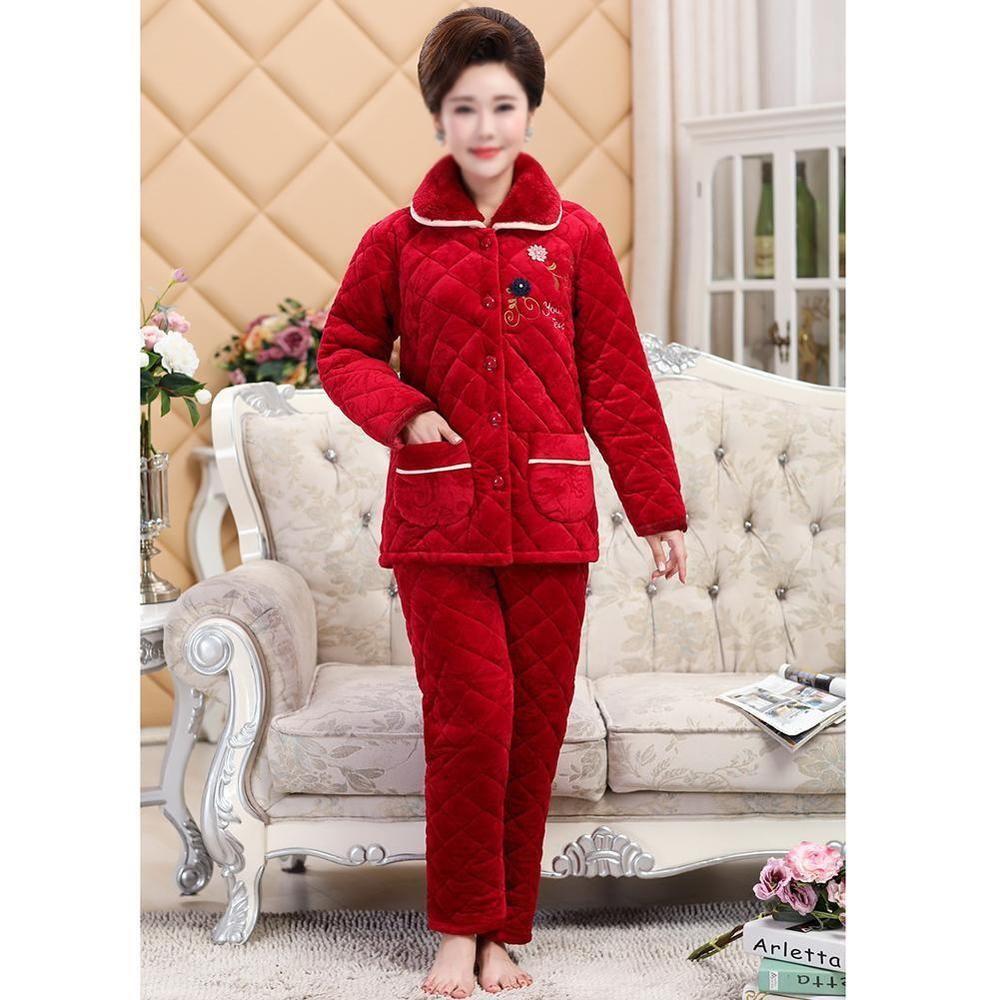 Women Warm Flannel Pajamas Set Cute Cartoon Soft Winter Sleepwear Home Night   fashion  clothing b9132f423
