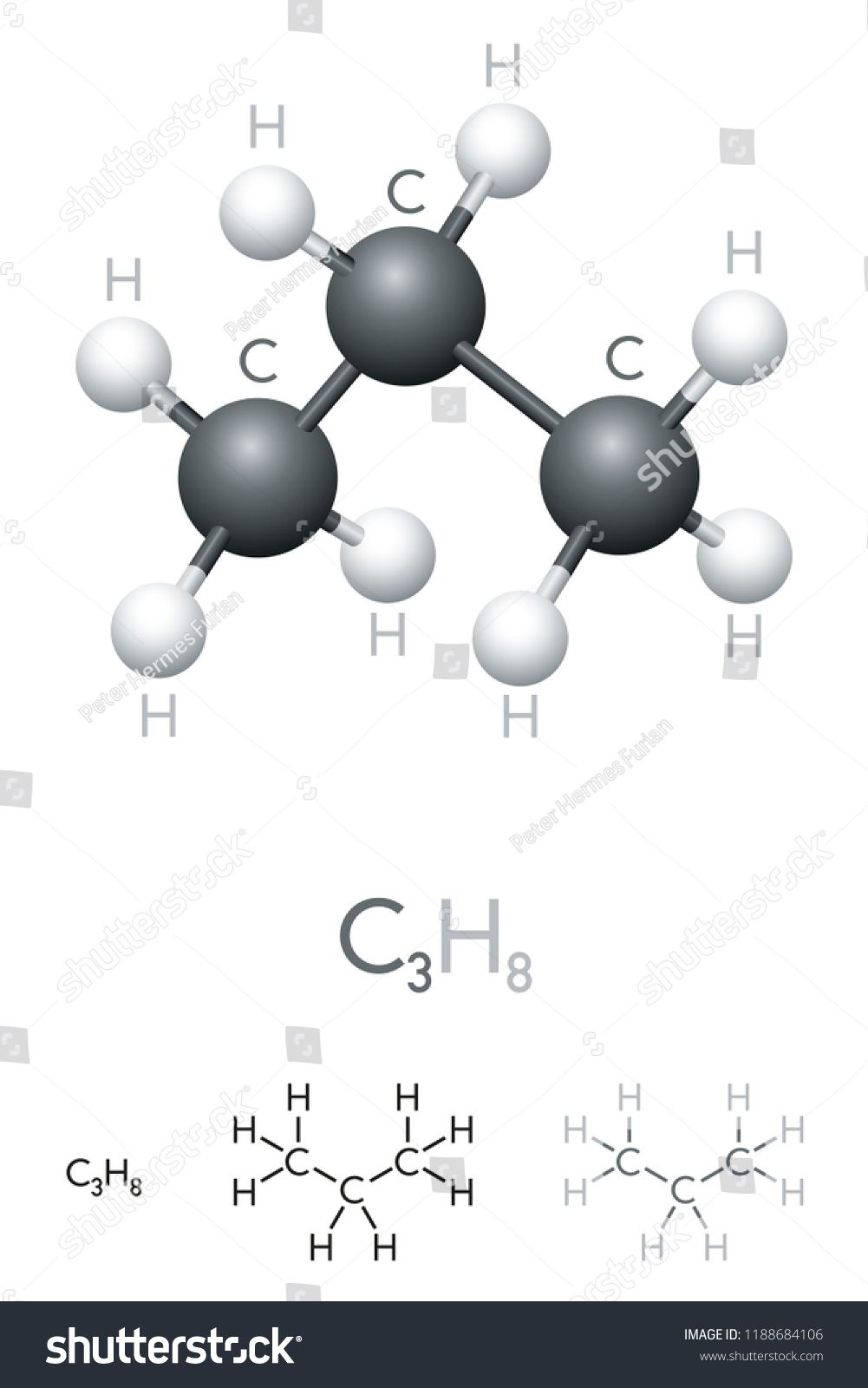 hight resolution of propane c3h8 molecule model and chemical formula organic chemical compound used as