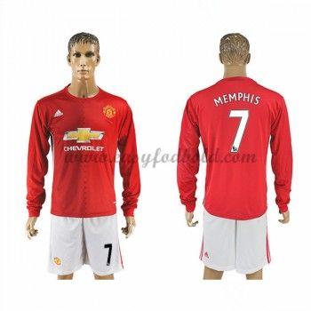Fodboldtrøjer Premier League Manchester United 2016-17 Memphis 7 Hjemmetrøje Langærmede