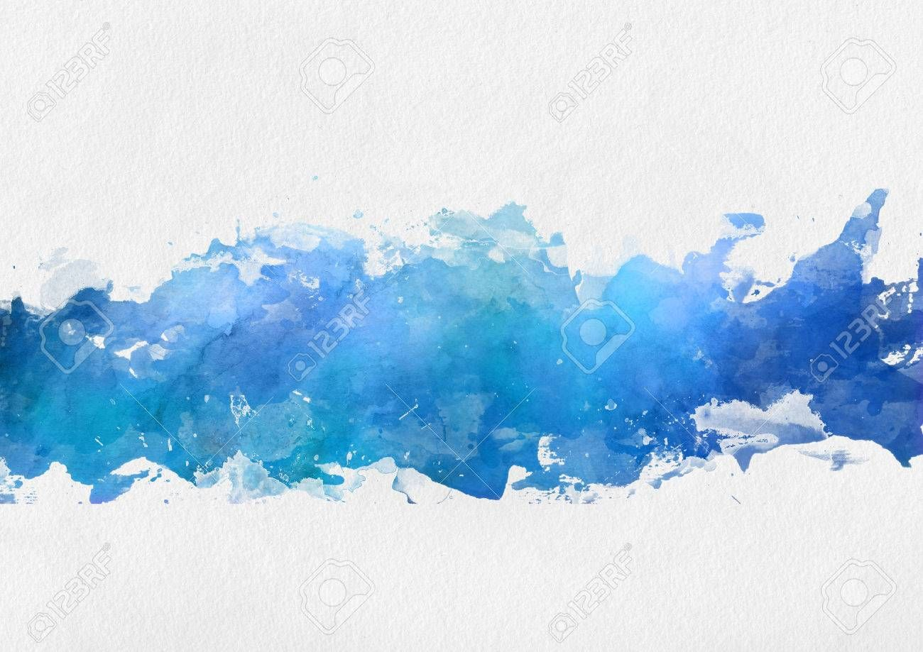 Artistic Blue Watercolor Splash Effect Template With A Band Of Irregular Blue Paint Centred Ov Watercolor Splash Watercolor Splash Png Paper Background Texture