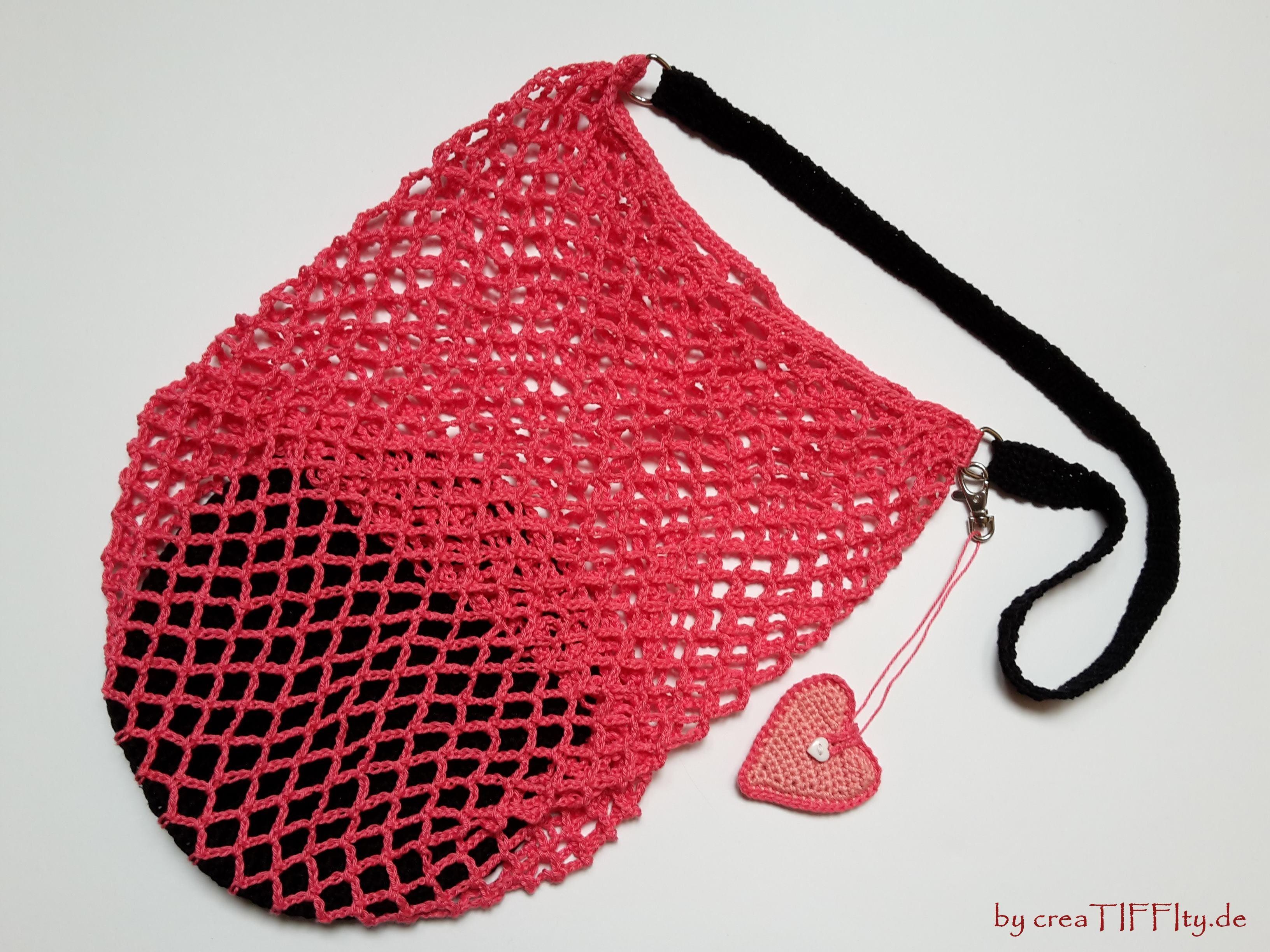 Netztasche mit Chip Etui in Herz-Form. Häkelanleitung von ...