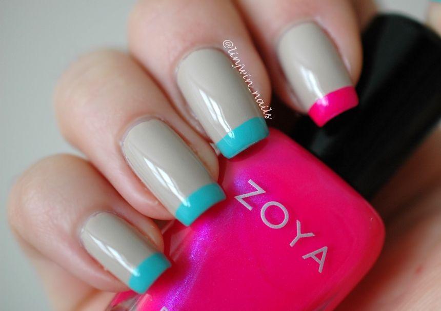 Neon French Tips with Zoya Lola and China Glaze Aquadelic   Nails ...