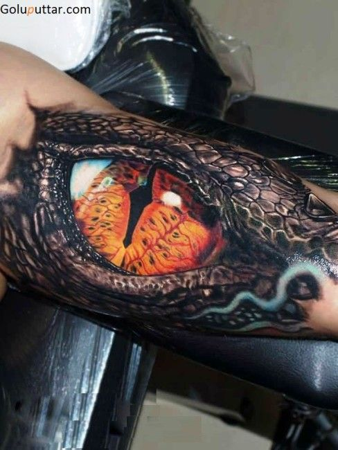 Real 3d Scary Eye Tattoo On Biceop Dragon Tattoos For Men