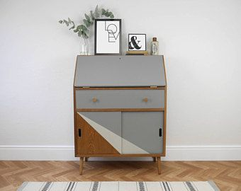 Mid century vintage teak bureau desk with storage cupboard