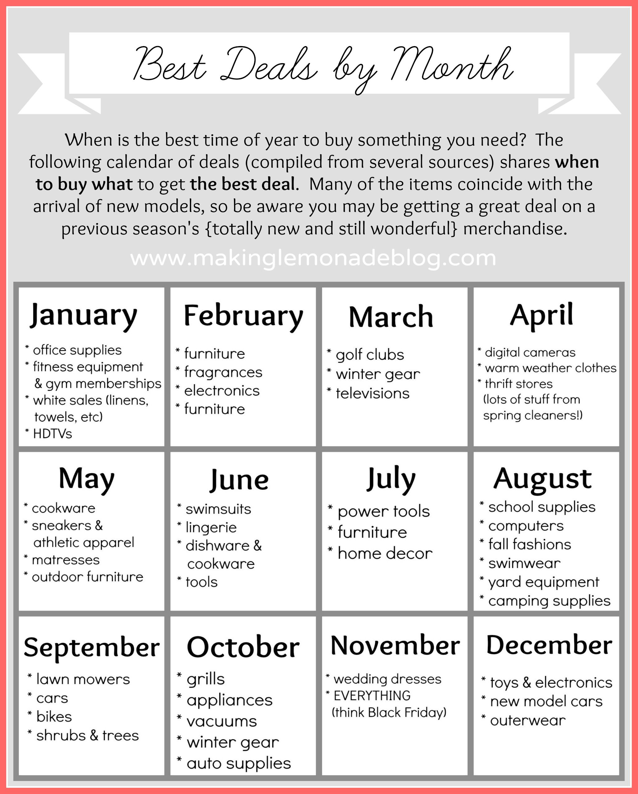 Free Printable Best Deals Calendar 1000 Life Hacks Life Hacks