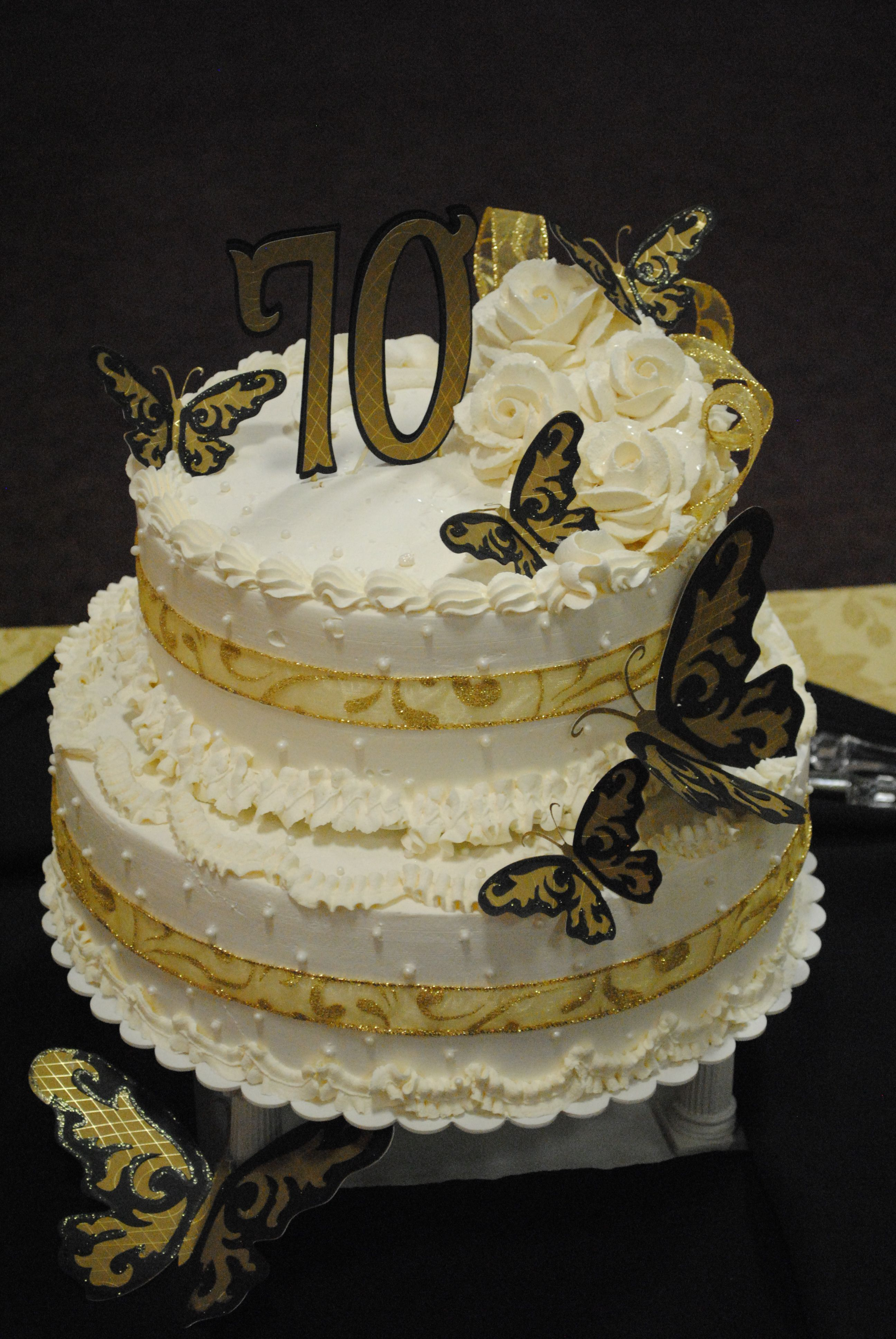 Black And Gold 70th Birthday Cake