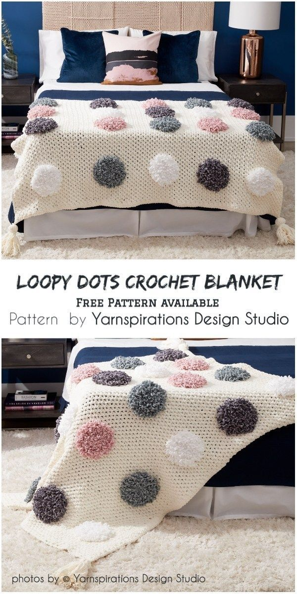 Loopy Dots Crochet Blanket Pattern Idea #designfürzuhause