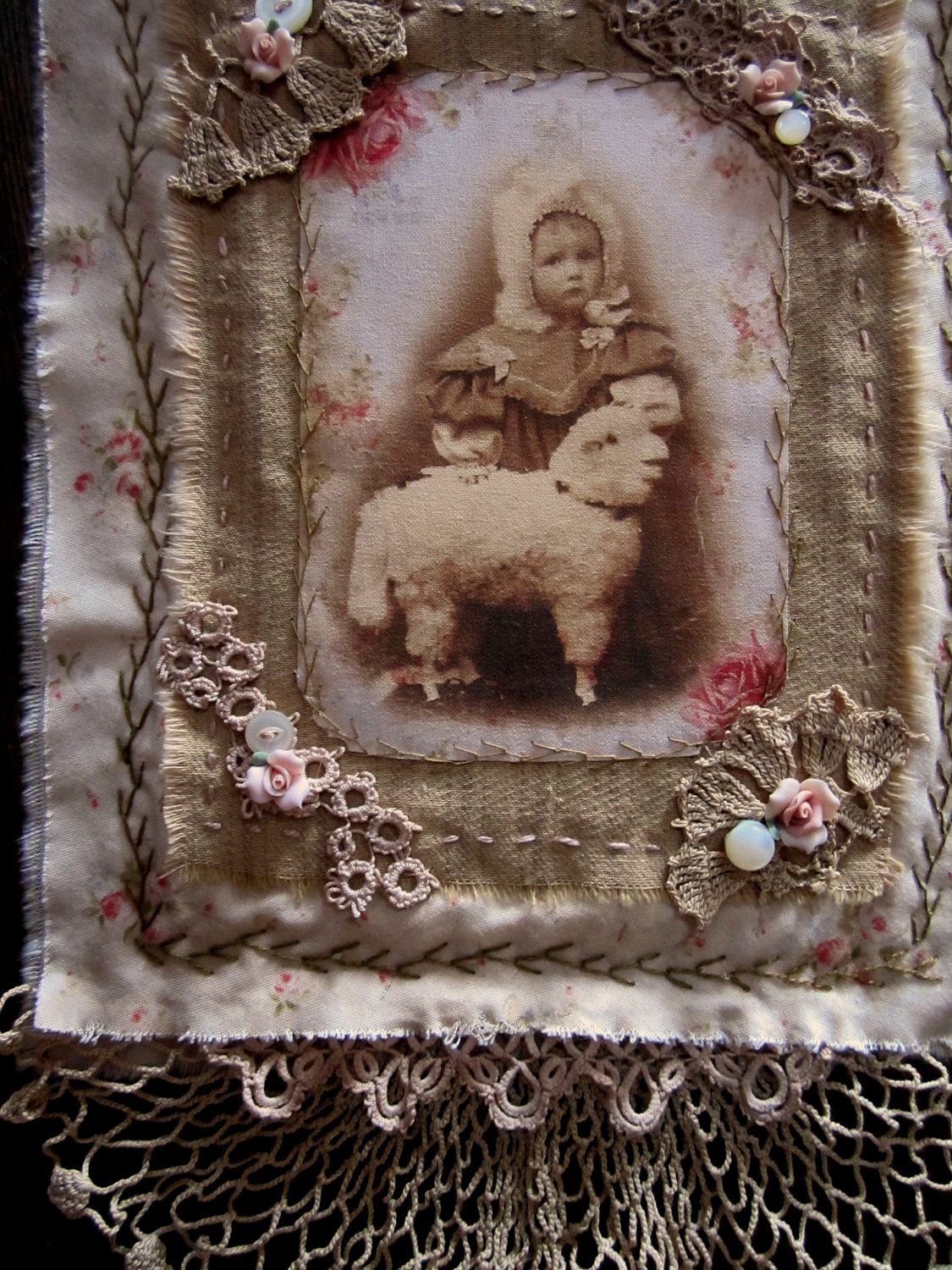 -- sweetness!  Vintage Lace Petite Rosebuds Ticking Mini Quilt Collage Sweet Girl and her Toy Lamb
